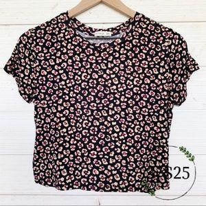 Cotton On Leopard Print Floral Crop Top